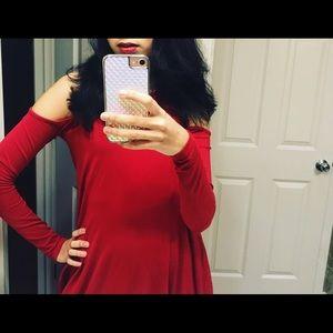 Forever 21 Red Cold Shoulder Dress